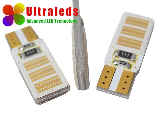Żarówka LED W5W T10 12 Chips COB High Power CanBus czerwona